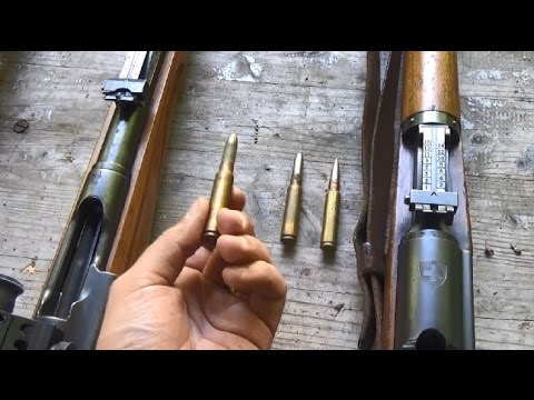 What Swiss service ammunition fits in what common straight-pull rifle?