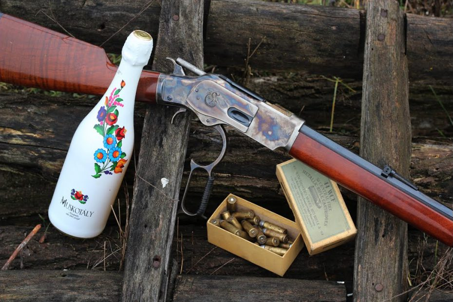 Opening the New Year's champagne with my 1873 Winchester