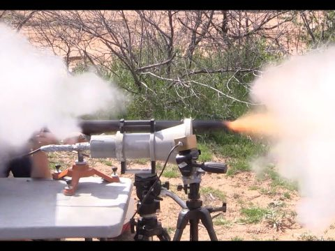 Firing a 10-Bore Flintlock Rifle