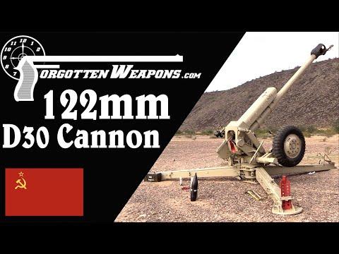 Soviet 122mm D30 Cannon (Firing)