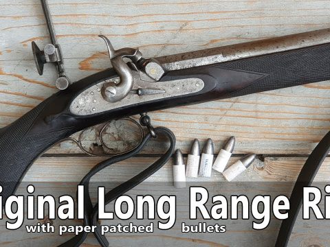 Original percussion long range rifle with paper patched bullets