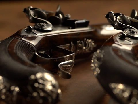 The Finest Known Cased Pair of John Manton Dueling Pistols