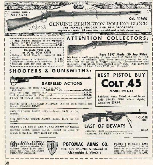 Guns Magazine August 1960 Potmac ad copy