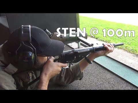 9x19mm STEN Mk.2 machine carbine / SMG at a rather optimistic 100m.