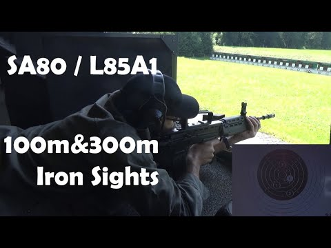 SA80 / L85A1 5.56mm / .223: iron sights at 100 and 300m. Includes comparison with M16A1 and SUSAT.